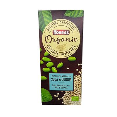 Шоколад черный Torras ORGANIC Dark Chocolate With Soy & Quinoa 52% какао с соевыми бобами и киноа 100 г