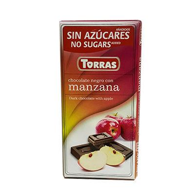 Шоколад черный без глютена и сахара Torras Dark with manzana с яблоком 75 г