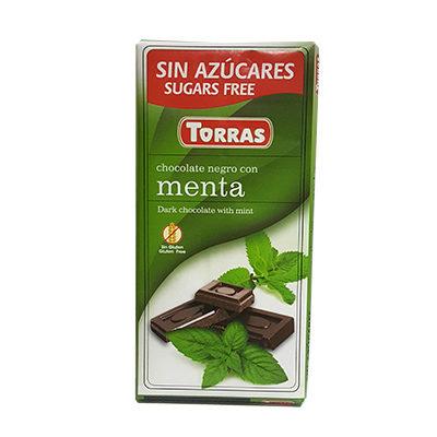 Шоколад черный без глютена и сахара Torras Menta с мятой 75 г