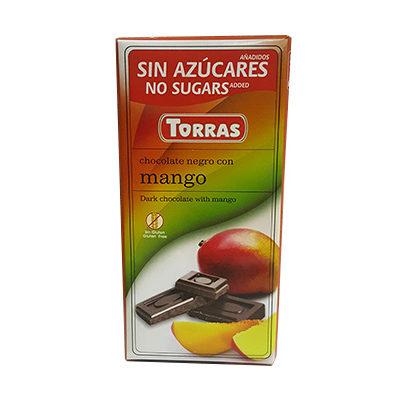 Шоколад черный без глютена и сахара Torras mango с манго 75 г