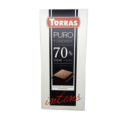 Шоколад черный без глютена Torras Dark chocolate 70% cacao 200 г