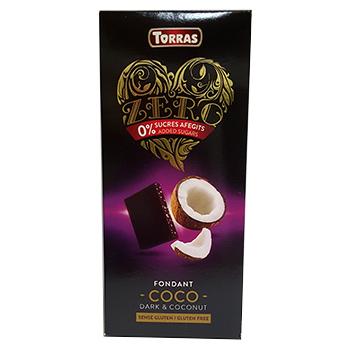 Шоколад черный без сахара Torras ZERO NEGRA СОСО с кокосом 125 г