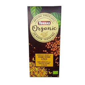 Шоколад черный Torras ORGANIC Dark chocolate with toasted sesame seeds & pollen с жареным сезамом и пыльцой 100 г