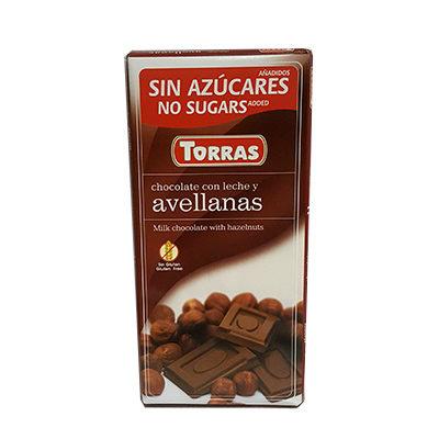 Шоколад молочный без глютена и сахара Torras Avellanas с фундуком 75 г