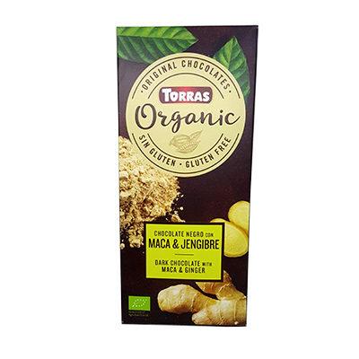 Шоколад черный Torras ORGANIC Dark chocolate with maca powder and ginger 52% какао с мака перуанской и имбирем 100 г