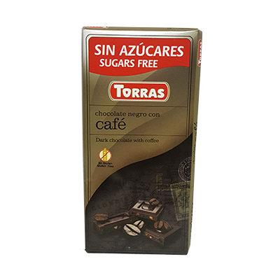 Шоколад черный без глютена и сахара Torras Cafe с кофе 75 г