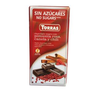 Шоколад черный без глютена и сахара Torras pimenta rosa, canela y chili с розовым перцем, корицей и чили, 75 г