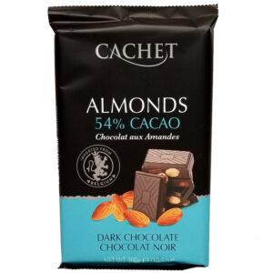 Шоколад черный 53% какао с миндалем CACHET DARK CHOCOLATE 53% COCOA & ALMONDS 300 г