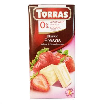 Шоколад белый без глютена и сахара Torras Fresas с клубникой 75 г