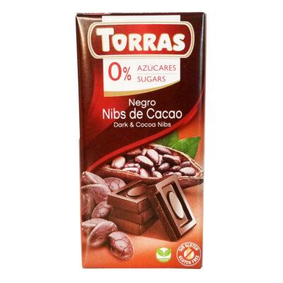 Шоколад черный без глютена и сахара Torras Dark chocolate with cocoa nibsс какао-бобами 75 г