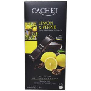 Шоколад черный 57% какао с лимоном и перцем CACHET LEMON & PEPPER 57% COCOA 100 г