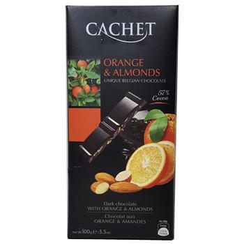 Шоколад черный 57% какао с апельсином и миндалем CACHET ORANGE & ALMONDS 57% COCOA 100 г