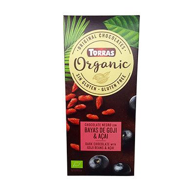 Шоколад черный Torras ORGANIC Dark chocolate with goji beans and açaí powder 52% какао с ягодами годжи и асаи 100 г