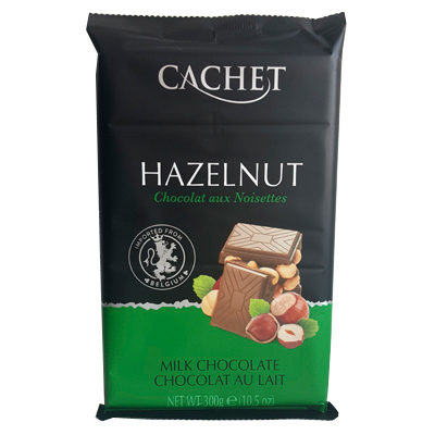 Шоколад молочный с лесным орехом CACHET MILK CHOCOLATE HAZELNUT 300 г