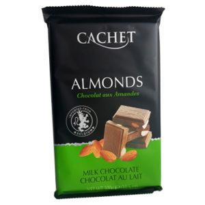 Шоколад молочный с миндалем CACHET MILK CHOCOLATE ALMONDS 300 г