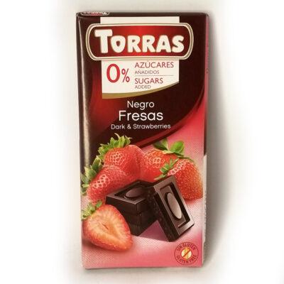 Шоколад черный без глютена и сахара Torras Fresas с клубникой 75 г
