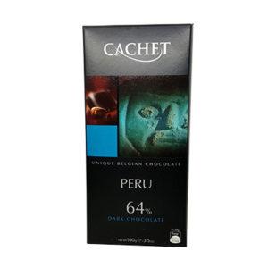 Шоколад экстра черный CACHET Extra Dark Peru 64% какао (Каше Перу) 100 г
