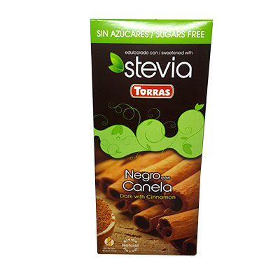 Шоколад черный без глютена и сахара Torras Stevia Dark with Cinnamon с корицей 125 г