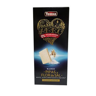 Шоколад белый без сахара Torras ZERO BLANC PIPES FLOR de SAL с семенами подсолнуха и морской солью 125 г