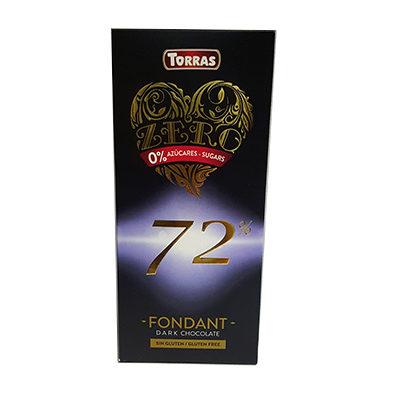 Шоколад черный без сахара Torras ZERO Dark chocolate 72% cacao 100 г